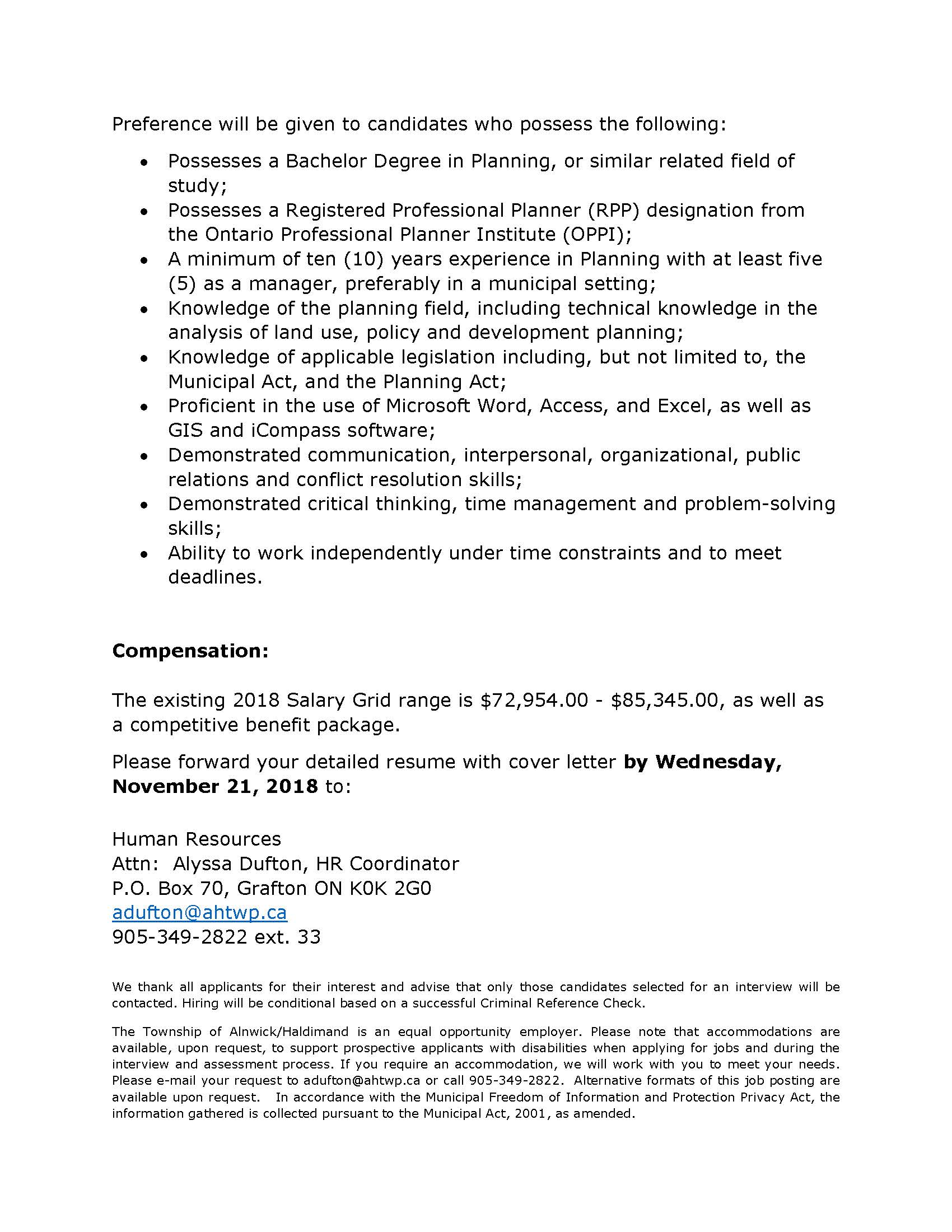 Page 2 Senior Planner Position