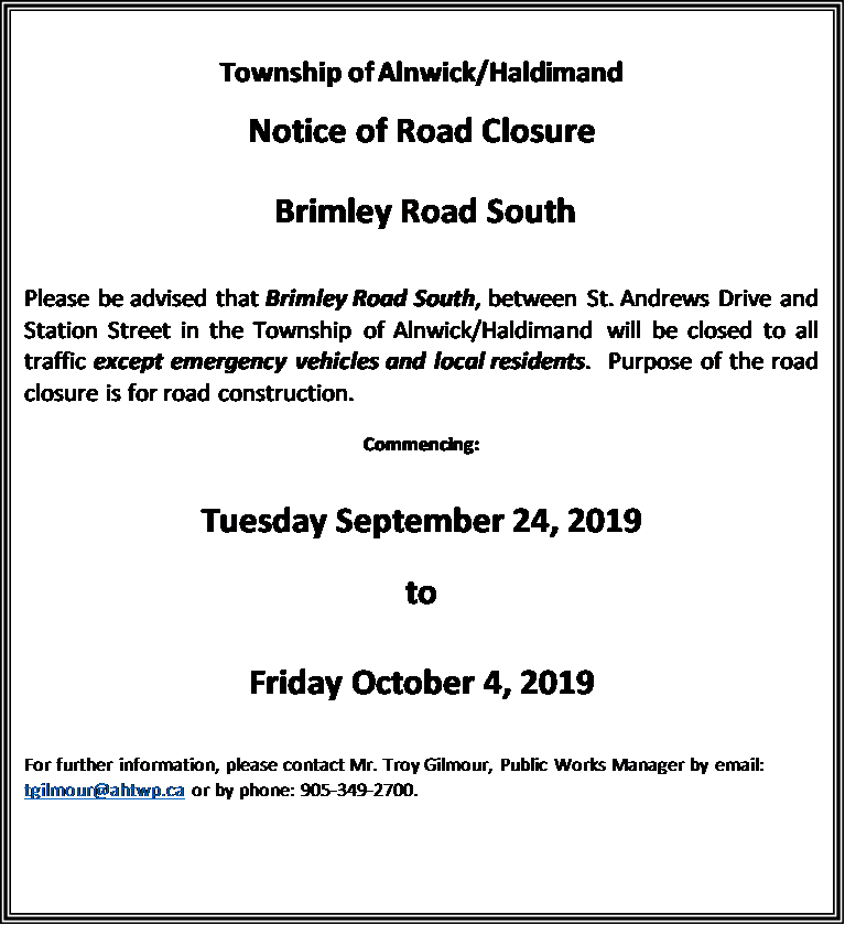 Brimley Road South Road Closure Sept 24 to Oct 4