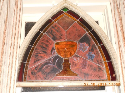 stain glass with cup