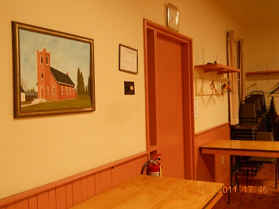 room with painting of church