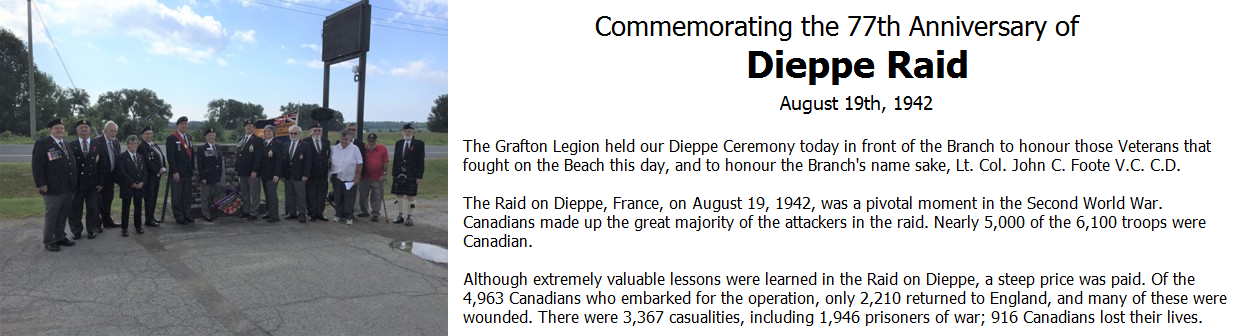 Commemorating the 77th Anniversary of the Dieppe Raid