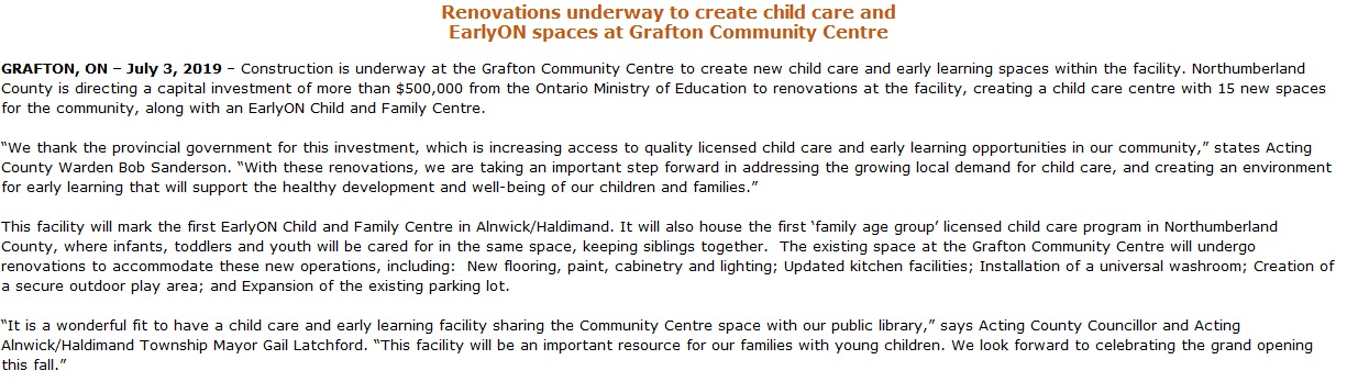 Reconstruction of Grafton Community Centre for EarlyON child care