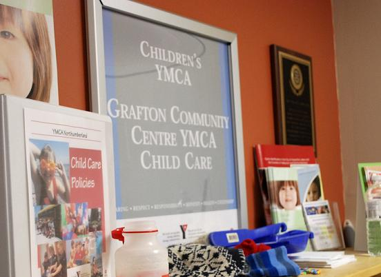 YMCA plaque with Children's YMCA - Grafton Community Centre YMCA Child Care written on it