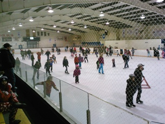 children skating in the arena