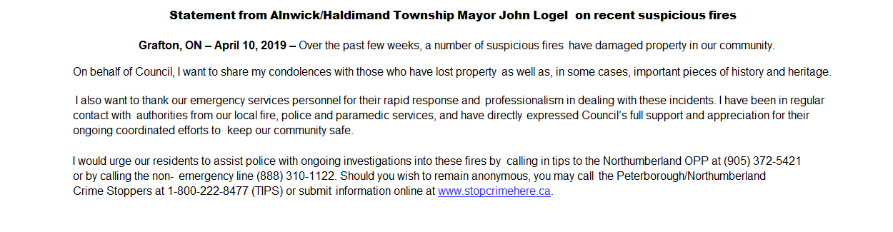 Mayors Statement Suspicious Fires Roseneath