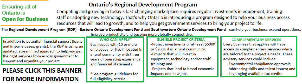 Ontario's Regional Development Program