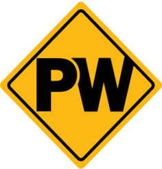 Road sign that says PW
