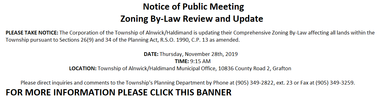 Notice of Public Meeting November 28th