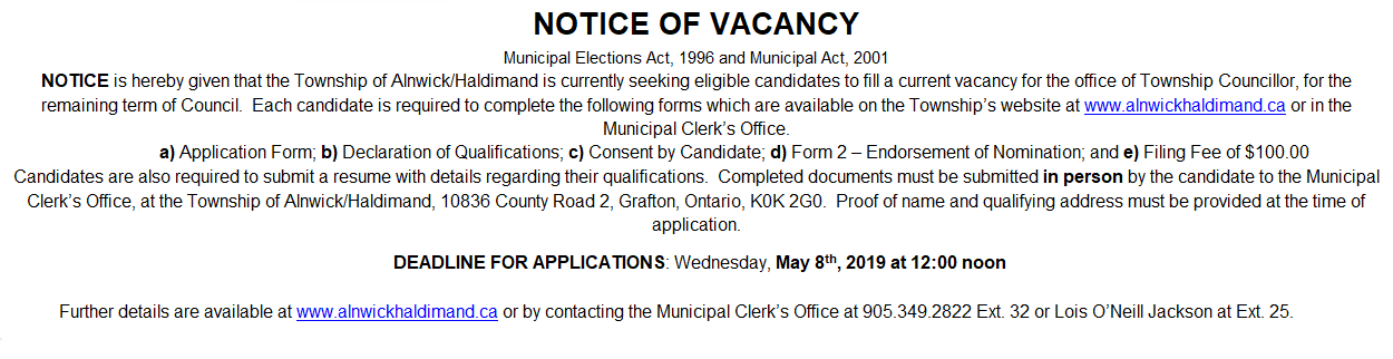 Notice Filling of Vacancy 2019 Councillor