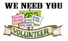 Volunteer logo that says we need you