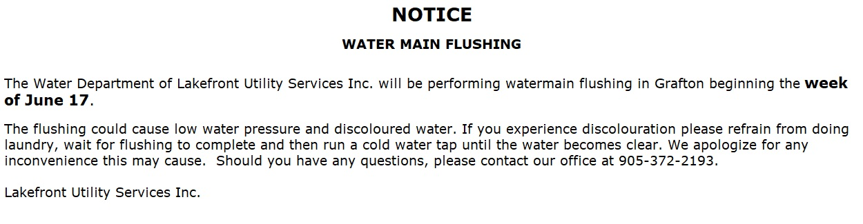 Watermain Flushing week of June 17 2019