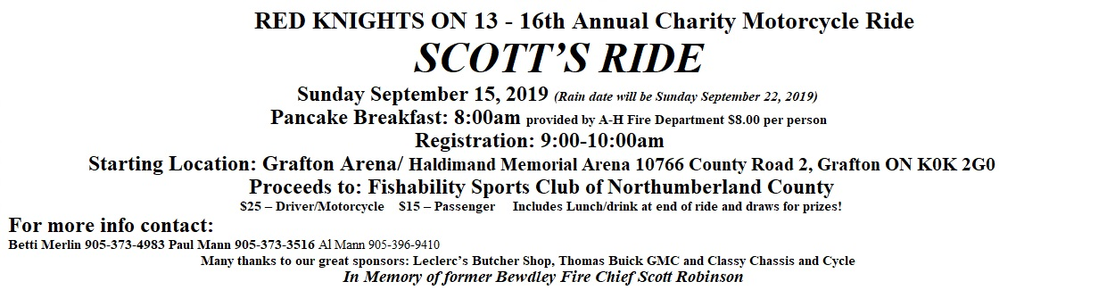 Red Knights ON 13 2019 Scott's Ride Sept 15 Sunday